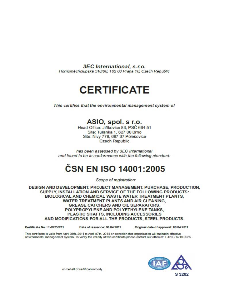 Sertifikat ISO 14001:2005